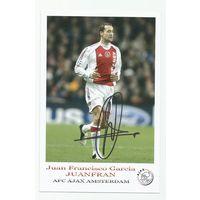 Juan Francisco Garcia JUANFRAN(Ajax, Голландия). Живой автограф на фотографии.