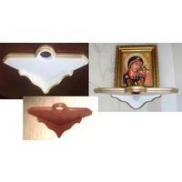 Полка для икон с отверстием для лампады