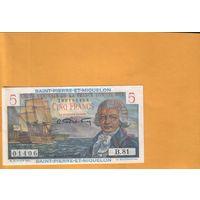 Сент-пьер микелон  5 франков 1965г .  унс  RRR