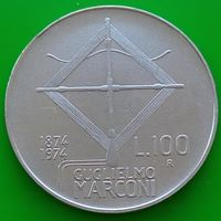 100 лир 1974 ИТАЛИЯ - 100 лет со дня рождения Гульельмо Маркони