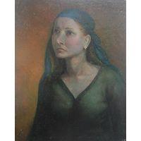 """Картина """"Портрет девушки в синем платке"""". Автор К. В. Мельник."""