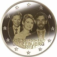 2 евро 2012 г. Люксембург Свадьба Великого герцога . UNC из ролла