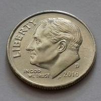 10 центов (дайм) США 2016 D, AU