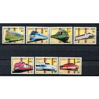 Камбоджа - 1989 - Поезда - (у марок с номиналами 20 и 3 клей с отпечатками пальцев) - [Mi. 1007-1013] - полная серия - 7 марок. MNH.