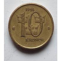 Швеция 10 крон, 1991 4-6-24