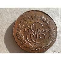 5 копеек 1766 ММ медь
