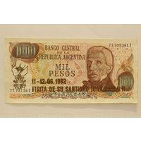 Аргентина, 1000 песо (образца 1974-75 года, надпечатка 1982 года)