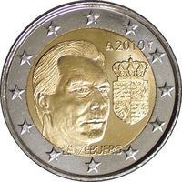 2 евро 2010 г. Люксембург Герб Великого герцога. UNC из ролла