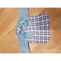 Джинсово-хлопковая рубашка на 3 года