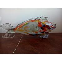 Рыбка стеклянная,фудожентвенное стекло СССР,ручная работа,длина 31см