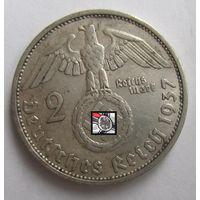 Третий рейх. 2 марки 1937 F   , серебро .9-387