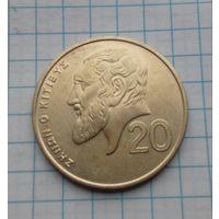 Кипр 20 центов 1992г.