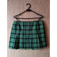 Мини юбка на молнии и в клеточку (черно-зеленая)