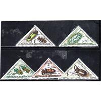 Центральноафриканская республика.Mi:CF P1-Р5. Серия: насекомые. Доплатные марки.1962.