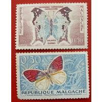 Мадагаскар. Бабочки. ( 2 марки ).