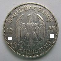 1935 г. 5 марок. D. Кирха. Германия. Рейх. Серебро.