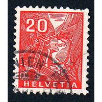 63: Швейцария, почтовая марка, 1934 год, номинал 20с, SG#354