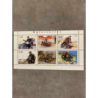 Таджикистан 1999. Мотоциклы. Малый лист