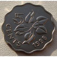 """Эсватини """"Свазиленд"""" 5 центов 1998 год KM#48 """"Король Мсвати III"""" """"Белая лилия"""""""