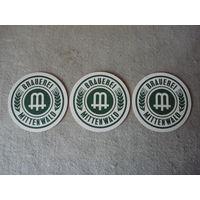 """Три подставки под пиво (бирдекели) """"MITTENWALD"""" (Германия)."""