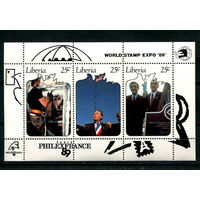 Либерия - 1989г. - Филателистические выставки EXPO и PHILEXFRANCE 89 - полная серия, MNH [Mi bl. 123] - 1 блок