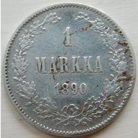 15. Финляндия под Россией 1 марка 1890 год, серебро.