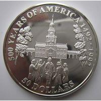 Острова Кука. 50 долларов 1992. Серебро. Пруф. 188