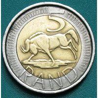 ЮАР (Южная Африка), 5 рандов 2005,  биметалл. Надпись на языках тсонга и английский: Afrika Dzonga - South Africa