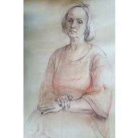 Женский портрет, бумага, мягкий материал