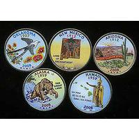 США 2008 набор ЦВЕТНЫХ КВОТЕРОВ ( 25 центов ) 5шт UNC