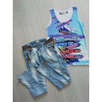 Лот джинсы-майка на 42-44р/S