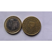 Нидерланды 1 евро, 50 центов 1999г  распродажа