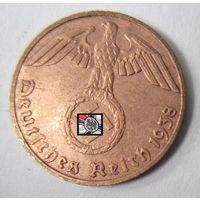 Третий рейх. 1 рейхспфенниг 1938 D.  2-119