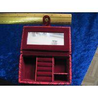 Шкатулка для бижутерии, косметичка в коже 14х8х4,5 см.