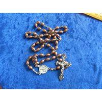 Колье с крестиком и медальоном Fatima.