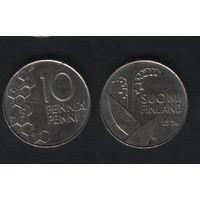 Финляндия km65 10 пенни 1991 год (M) (f37)