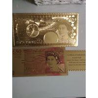 Золотая банкнота Великобритании. Конверт. Сертификат