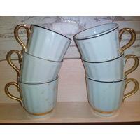 Чашки кофейные с позолотой 6 шт. Высота 6 см.