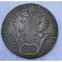 Австрия, 20 крейцеров, 1809, серебро