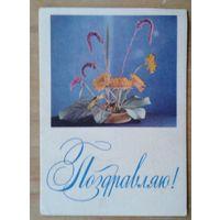 Пастушков В. Поздравляю! 1968 г. Мини-открытка. Подписана. Минск