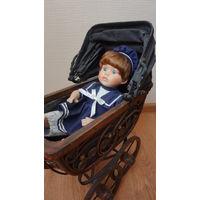 Старинная колясочка для куклы,Германия,длина 39см.выс.45см,шир.22см.