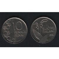 Финляндия km65 10 пенни 1991 год (M) (f39)