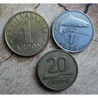 Эстония, Латвия, Литва. 3 монеты 1997-2007 г.