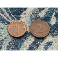Латвия 1, 2 сантима