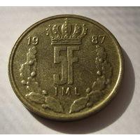 Люксембург 5 франков 1976г.