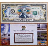 2 доллара Национальный парк YELLOWSTONE (цветные  с цветным сертификатом) UNC