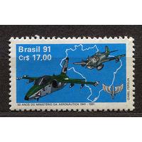 Самолеты. Военная авиация. Бразилия. 1991. Полная серия 1 марка. Чистая