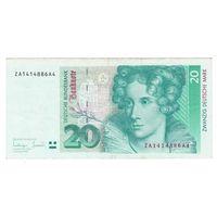 Германия ФРГ 20 марок 1993 года. Замещенная серия (префикс буква Z). Нечастая!