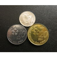 МАЛАЙЗИЯ 5, 10, 20 сен (3 монеты)