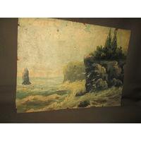 Картина старинная Утёс кон.19-го века.